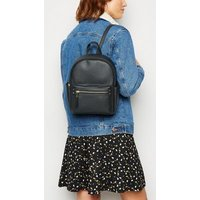 Black Leather-Look Mini Backpack New Look Vegan