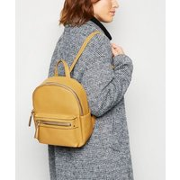 Mustard Leather-Look Mini Backpack New Look Vegan