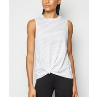White Burnout Sports Tank Top New Look