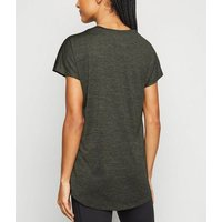 Khaki Marl Sports T-Shirt New Look