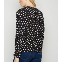 Black Spot Long Sleeve Tie Front Blouse New Look