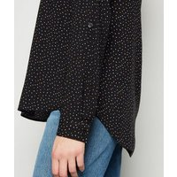 Black Spot V Neck Shirt New Look