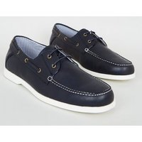 Navy Leather-Look Boat Shoes New Look