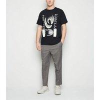 Men's Dark Grey Check Drawstring Waist Trousers New Look
