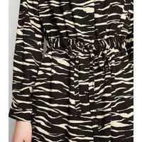 Black Zebra Print Drawstring Waist Shirt Dress New Look