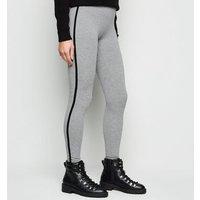 Grey Marl Side Stripe Leggings New Look