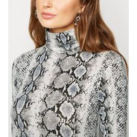Light Grey Snake Print Roll Neck Top New Look