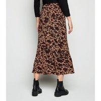 Rust Leopard Print Midi Skirt New Look