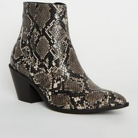 Black Faux Snake Western Boots New Look