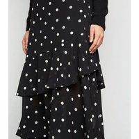 Black Spot Print Frill Chiffon Midi Skirt New Look
