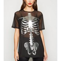 Carpe Diem Black Mesh Skeleton T-Shirt New Look
