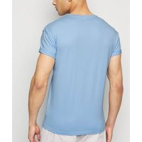 Pale Blue Cotton Short Roll Sleeve T-Shirt New Look