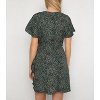 Gini London Green Leopard Print Frill Tea Dress New Look