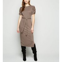 Brown Check Jacquard Ruched Sleeve Midi Dress New Look