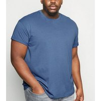 Men's Plus Size Bright Blue Roll Sleeve T-Shirt New Look
