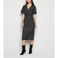 Black Spot Print Wrap Midi Dress New Look