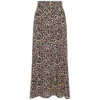 Black Leopard Print Circle Cut Midi Skirt New Look