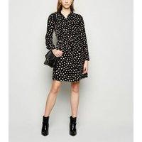 Black Contrast Spot Drawstring Mini Dress New Look