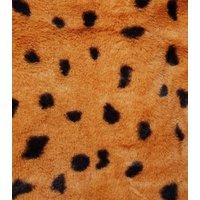 Urban Bliss Brown Animal Faux Fur Hoodie New Look