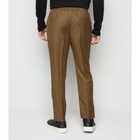 Stone Pinstripe Pull On Trousers New Look