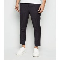 Navy Pinstripe Pull On Trousers New Look