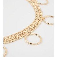 Gold Double Drape Circle Chain Belt New Look