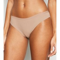 Pale Pink Lace Back Seamless Brazilian Briefs New Look