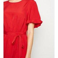 Red-Frill-Sleeve-Mini-Dress-New-Look