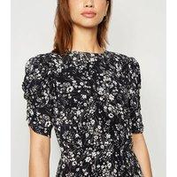 Black Floral Puff Sleeve Side Split Midi Dress New Look
