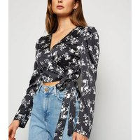 Urban Bliss Black Floral Satin Wrap Crop Top New Look