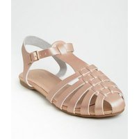 Rose Gold Leather-Look Caged Flat Sandals New Look Vegan