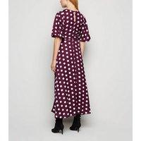 Innocence Burgundy Spot Corset Midi Dress New Look
