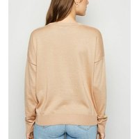Camel Crew Neck Ribbed Trim Jumper New Look