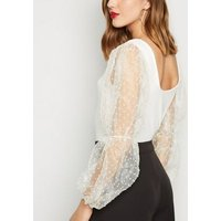 Cameo Rose White Mesh Puff Sleeve Top New Look