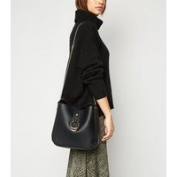 Black Leather-Look Slouch Bucket Bag New Look