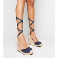 Navy Ribbon Ankle Tie Espadrille Wedges New Look Vegan