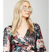 Rose Gold Mirrored Round Sunglasses New Look
