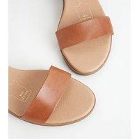 Tan Leather Low Block Heel Sandals New Look
