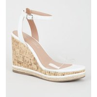 White 2 Part Clear Strap Cork Wedges New Look Vegan