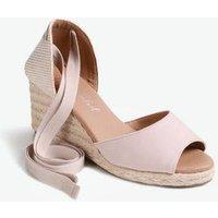 Pale Pink Ankle Tie Peep Toe Espadrille Wedges New Look Vegan