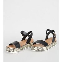 Black Leather-Look Woven Flatform Sandals New Look