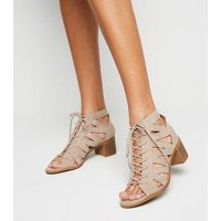 Light Brown Suedette Lace Up Ghillie Sandals New Look Vegan