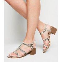 Stone Faux Snake Block Heel Gladiator Sandals New Look Vegan