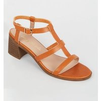 Tan Leather-Look Block Heel Gladiator Sandals New Look