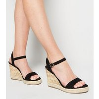 Black Suedette 2 Part Cork Wedges New Look Vegan