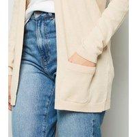 Cream Double Pocket Fine Knit Cardigan New Look