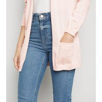 Pale Pink Double Pocket Fine Knit Cardigan New Look