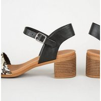 Stone Faux Snake Low Block Heel Sandals New Look Vegan