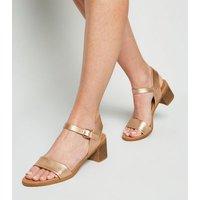 Rose Gold Leather-Look Low Block Heel Sandals New Look Vegan