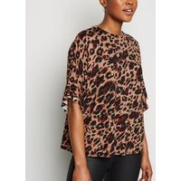 Brown Leopard Print Frill T-Shirt New Look